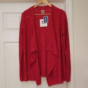 NWT Anne Klein Sparkling Red Sweater L